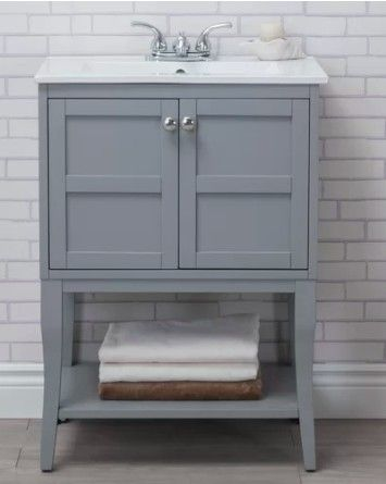 Add style and storage with a bathroom vanity.