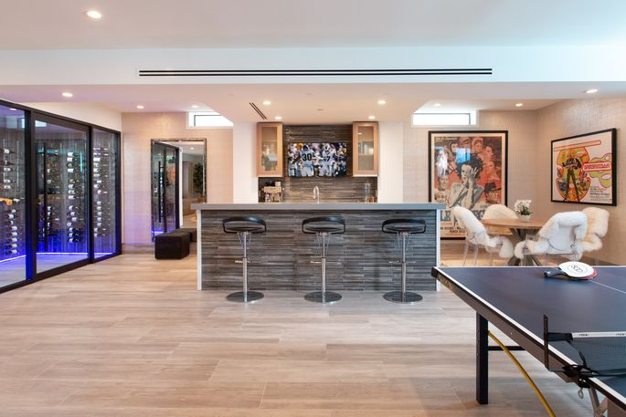 Game room with bar and wine cellar