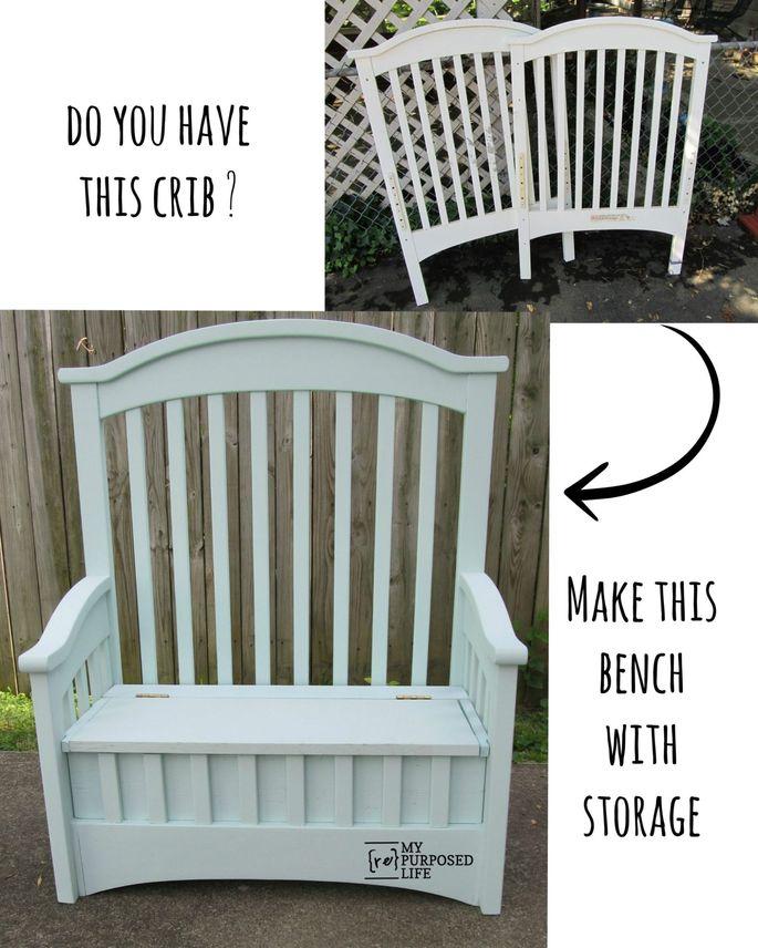 Crib slats + toy box = comfy bench
