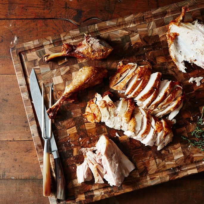 A cutting board with a moat is ideal for juicy turkeys.