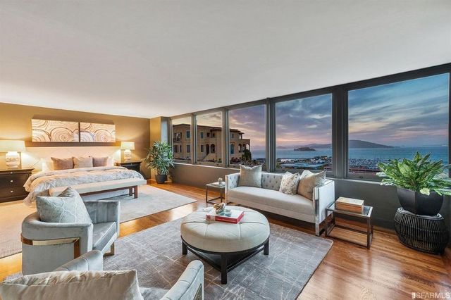 Located on Telegraph Hill, this remodeled home offers gorgeous views of the bay below.