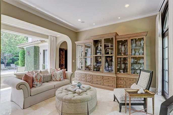 Living room with custom trophy case