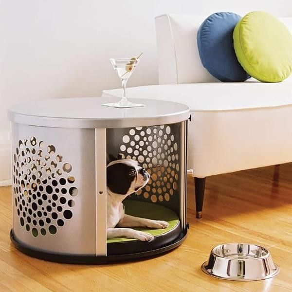 This Circular Dog Crate With Sunburst Perforations Is Also A Great Looking End  Table.