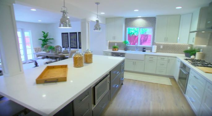 These white and gray cabinets look perfect!