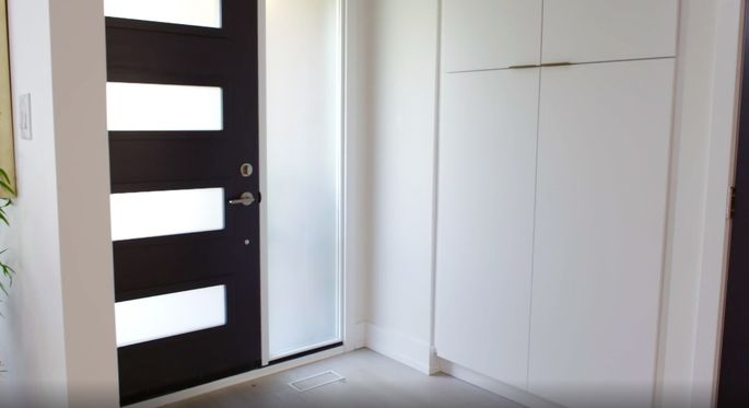 These closets are right next to the door, so they're perfect for storing shoes and jackets.