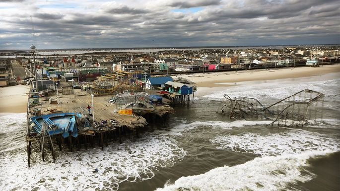 An amusement park wrecked by Hurricane Sandy on Oct. 31, 2012, in Seaside Heights, NJ