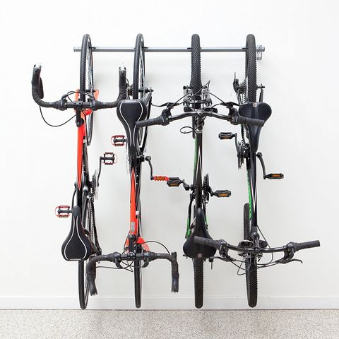 This stylish bike rack is a great way to display your wheels.