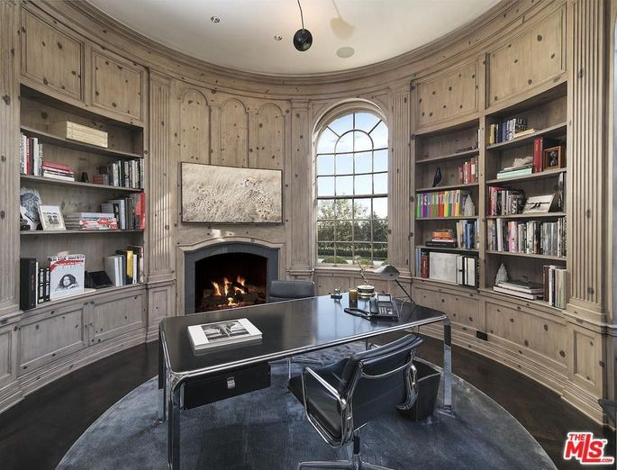 Wood-paneled library
