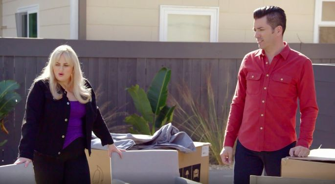 Rebel Wilson helps the brothers choose some furniture.