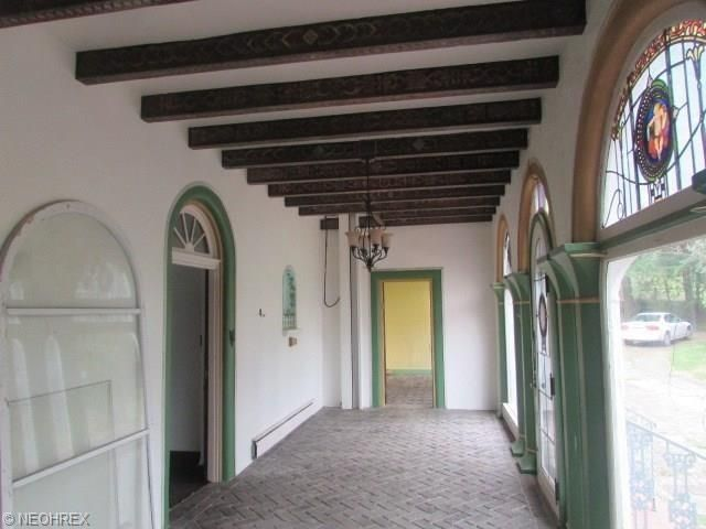 Hallway with stained glass