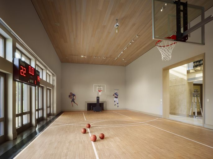 Former living room, now basketball court