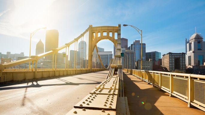 Andy Warhol Bridge To downtown Pittsburgh