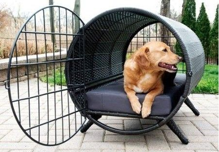 This totally tubular dog crate looks like a piece of art.