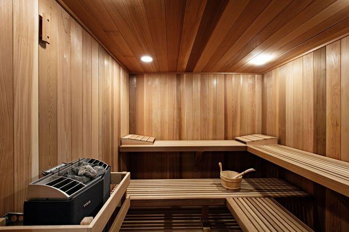 A sauna in an East Hampton home.