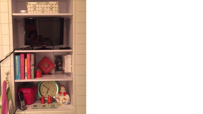 An old space for a dumbwaiter was turned into a kitchen bookcase