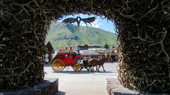 The antler arches in Jackson Hole town square