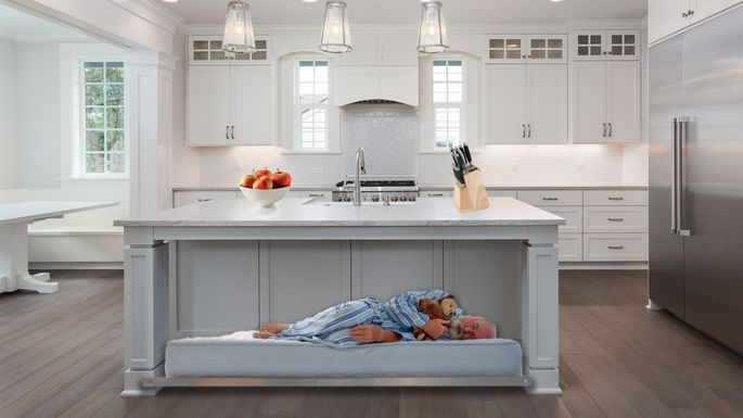 Kitchen island with bed