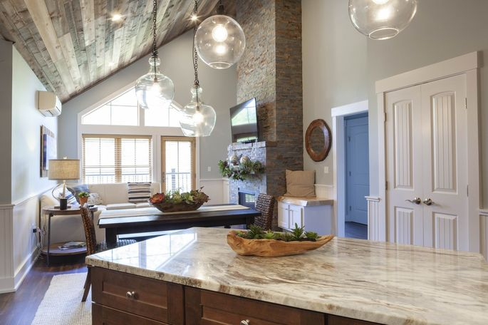 Katherine and Jamie Morse bought a three-bedroom condominium with a stacked stone fireplace, granite counters and reclaimed wood paneling at Kearsarge Brook for over $600,000 in 2018.
