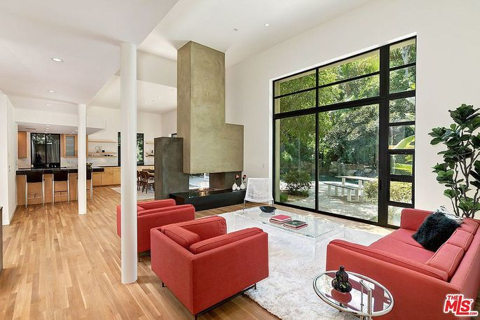 Great room with double-sided fireplace