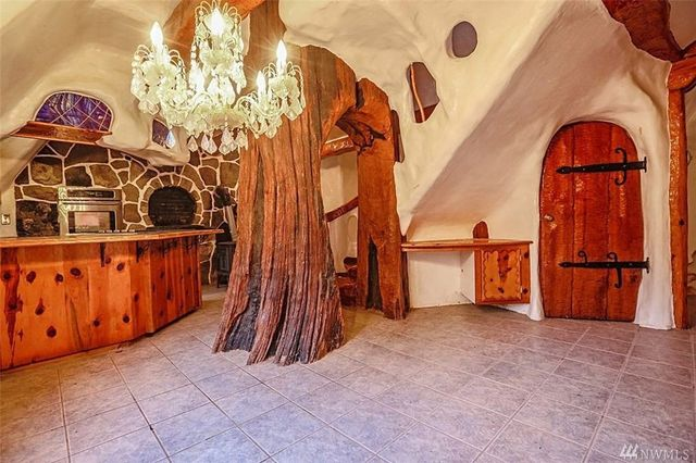 Tree trunk in kitchen