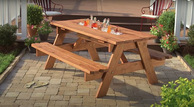 DIY picnic table with built-in cooler