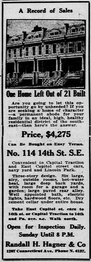 "A Washington, D.C., home is advertised as ""open for inspection"" in 1917."