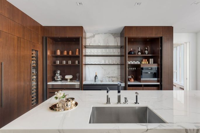 Kitchen with built-in coffee maker
