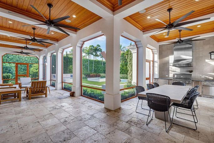 Loggia with covered dining and lounging area