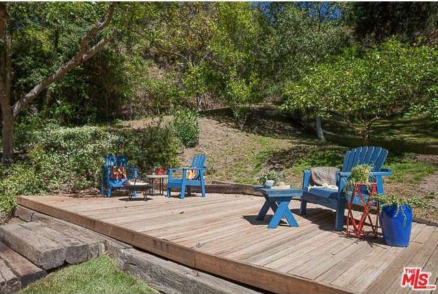 The spacious wood deck