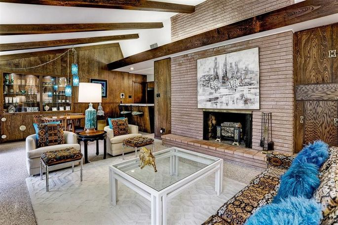 Unpainted brick fireplace