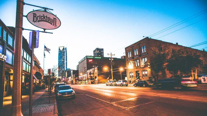 Bricktown entertainment district in Oklahoma City