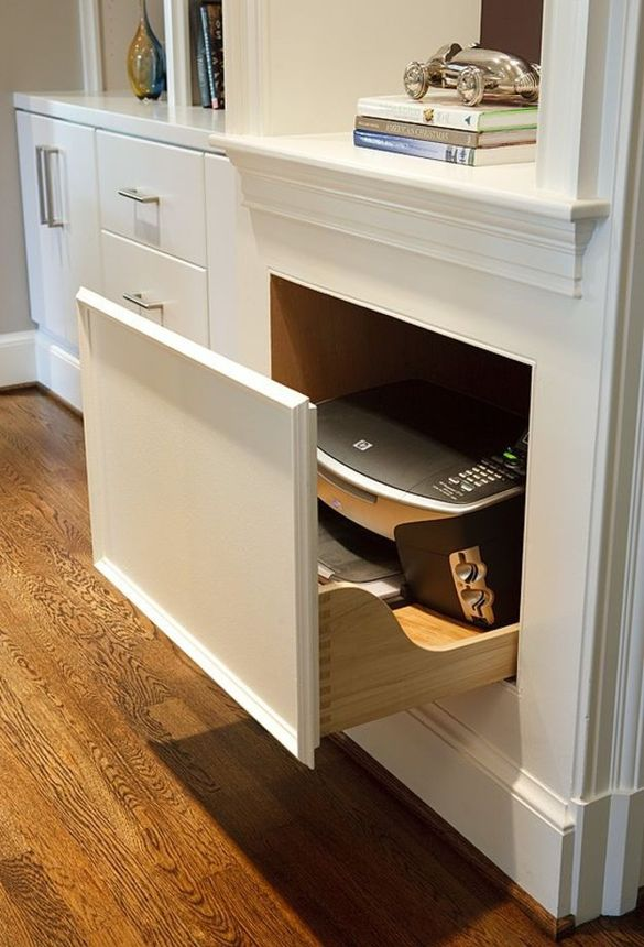 Hide Your Printer In A Sliding Drawer (genius!).