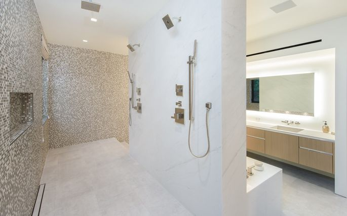 Master bath with open, double shower