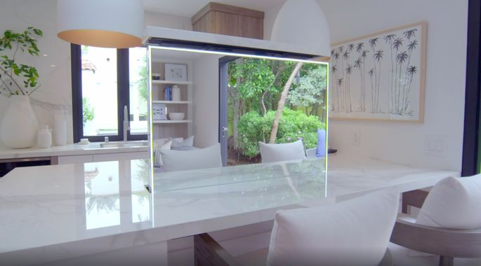 The mirror transforms this space from kitchen to makeup studio.
