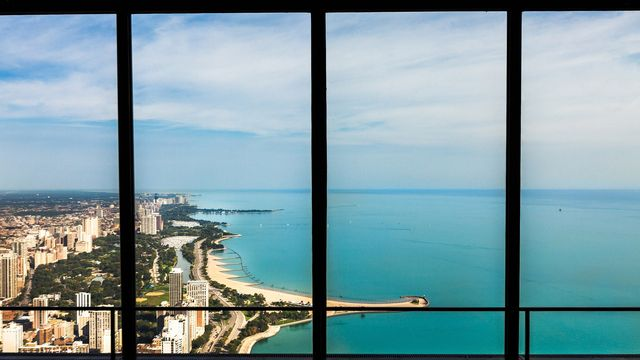 Window view of Lake Michigan in Chicago
