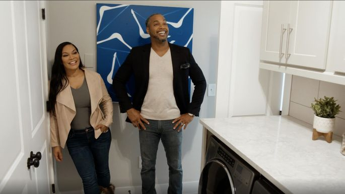 The guest judges, Egypt Sherrod and her husband, Mike Jackson, agree that the laundry room looks great.