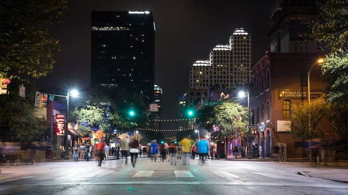 Downtown Austin, TX, at Night on Sixth Avenue