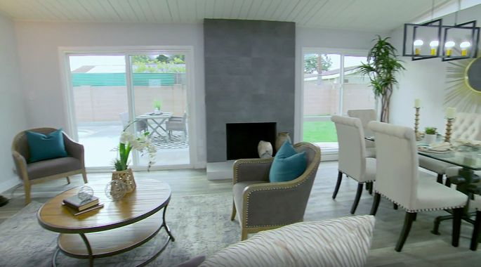 This living room is now much brighter with the patio cover gone.