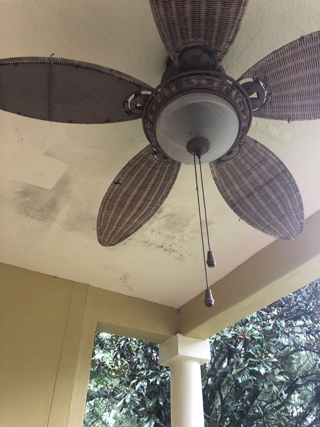 The water stains on the ceiling mean we may have to repair or replace our roof.