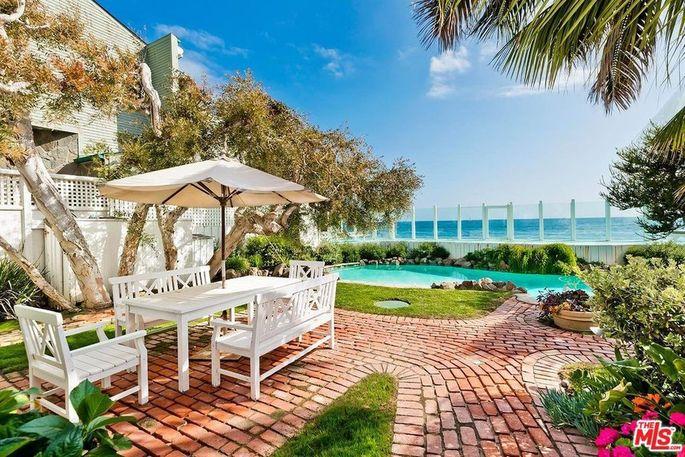 Brick terrace and pool