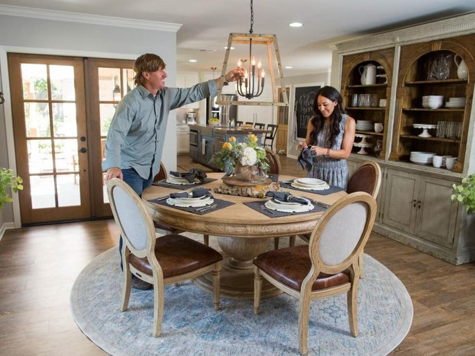 Chip and Joanna Gaines putting the finishing touches on the interior
