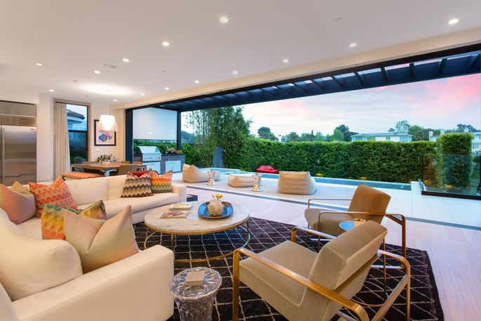 Living room with glass doors