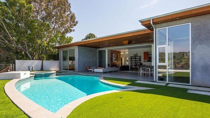 LA living: Real pool, fake grass.