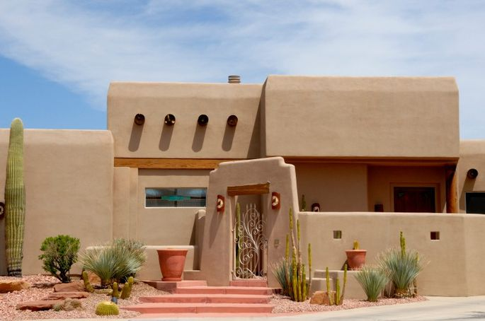 Adobe houses pueblo style from the southwest for Modern adobe houses