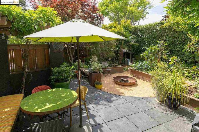 Backyard with edible garden