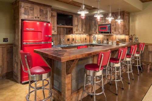 Lake house barn-wood bar