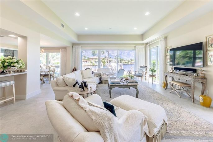 Living room in Fort Lauderdale, FL, home, with views of Bal Harbour