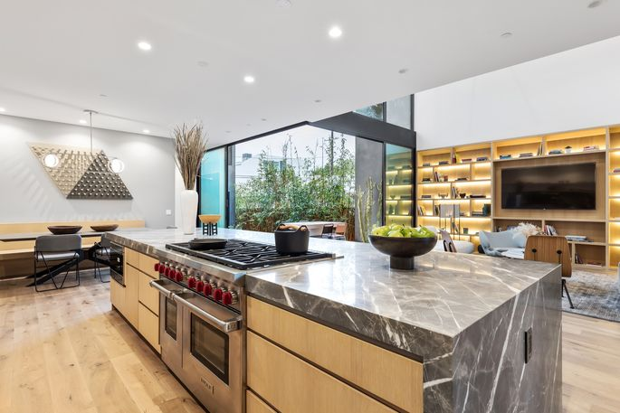 Open kitchen with eating nook