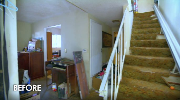 With dirty carpet and an outdated railing, this staircase needed a new look.