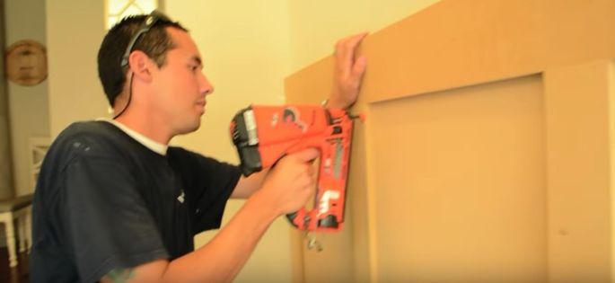 Use a nail gun to nail on the paneling.